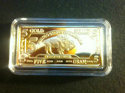 "5 Gram USA Buffalo ""In God We Trust"" Ingot Finished in 999 24 k Gold"