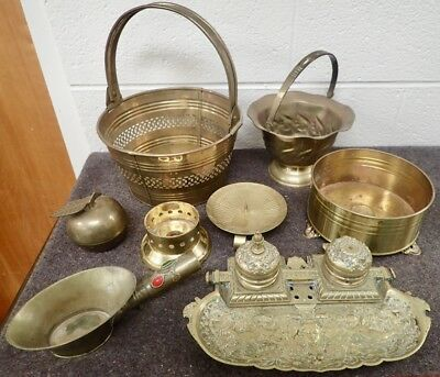 Lot of Vintage Brass Planters Apothecary Scoop Candle Holders & Antique Inkwell