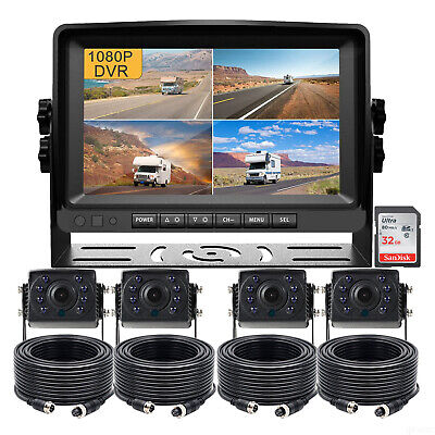 "7"" Quad Monitor DVR Recorder Truck Bus 4x 4Pin Rear View Backup CCD Camera+32GB"