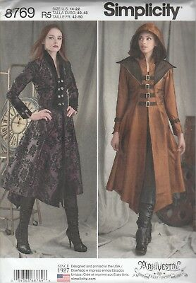 Simplicity Sewing Pattern 8769 Miss Cosplay Steampunk Costume Coats Sz 14-22