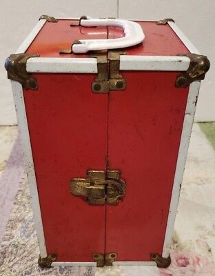 Vintage 1950s Doll Case Trunk Red White