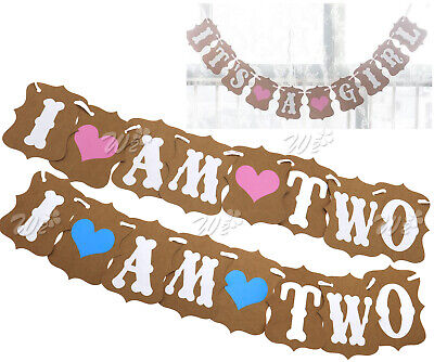I AM TWO 2nd Birthday Party Garland Banner Bunting Baby Girls Boys Shower Decor
