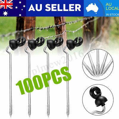 100PCS Screw In Offset Electric Fence Post Insulators Wood Timber Tape Cord AU