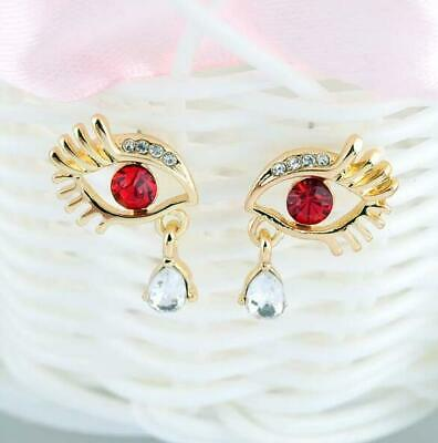 d21cb3754 Human Evil Jewerly Black Eyes Crystal Gold Stud Earrings Lady Eyelashes  Women