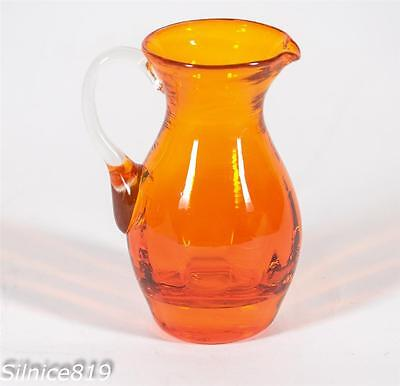 Vintage Amber Clear Handle Mini Pitcher