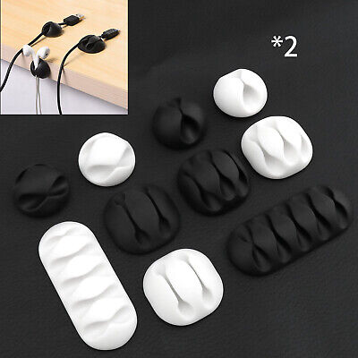 10 PCS Cable Wire Cord Lead Drop Clips Usb Charger Holder Tidy Desk Organiser