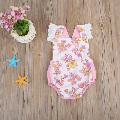 1pc Verano Newborn Toddler Bebé Girls Floral Bodysuit Ropa Romper Jumpsuit