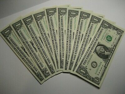 2009 [10] Dollar Us Treas.notes Brand New Crisp With Consecutive Serial Numbers