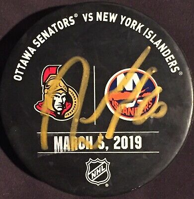 Robin Lehner autograph Game Used New York Islanders Warm Up Puck March 5th, 2019