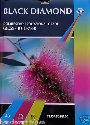 20 Sheets A3 155gsm Black Diamond Double Sided Gloss Photo Paper