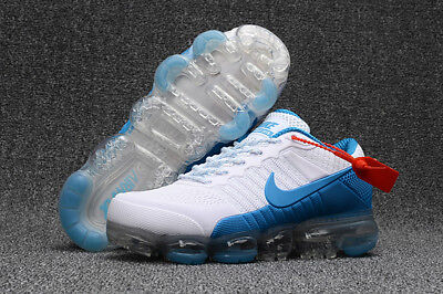 NIKE AIR MAX 2018 VAPORMAX Shoes Men's -Running Training -Classic White and blue
