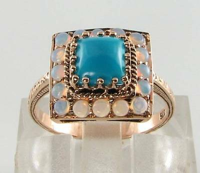 Lush 9K 9Ct Rose Gold Persian Turquoise & Opal Art Deco Ins Ring Free Resize