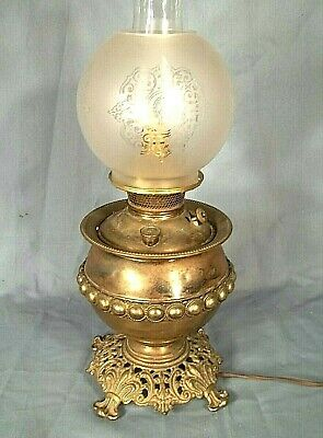Antique Bradley+Hubbard Fancy Victorian Oil Lamp With Frosted+Etched Shade