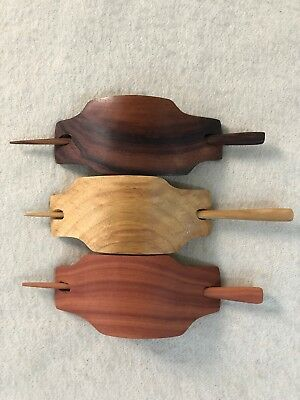 Carved GEOMETRIC Wooden Wood Hair Pin Barrette Slide Clip Clasp/Shawl Pin