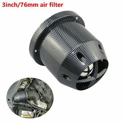 76mm Car SUV High Flow Cold Air Intake Filter Cleaner Carbon Fiber Durable