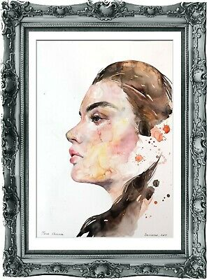 original painting art surreal female portrait 57BK watercolor  A3