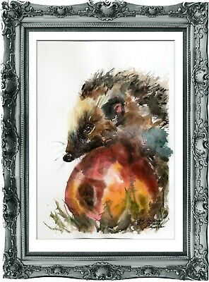 original painting hedgehog watercolor 139LM peinture originale art A3