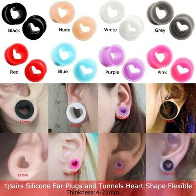 1pairs Silicone Ear Plugs and Tunnels Heart Shape Expanders Earrings Gauges