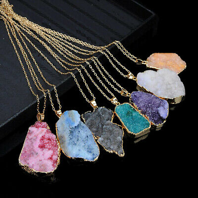Irregular Round Water Drop Pendant Natural Stone Crystal Color Sweater Chain
