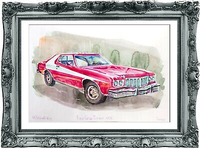 original drawing car Ford Torino 1976 142UV art watercolor A3