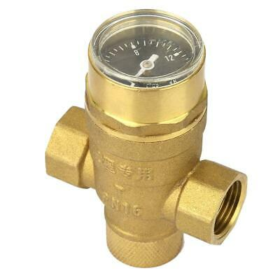 "1/2"" Sturdy Water Pressure Reducing Valve with Guage Meter Adjustable Water GB"