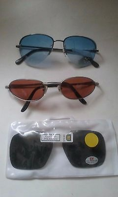 Sunglasses Lot Of 3 - Amber Lens, Shaded Blue Lens & Dk Green Clip On Nwt #076-F