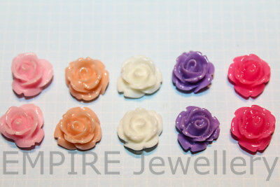 10 x Pretty Mini Rose Resin Flatback 10x10mm Flower Daisy Cabochon Cameo
