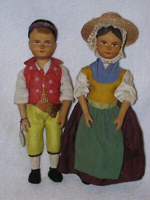 Vintage Pair Of Unusual Hand Wood Carved Dolls By Comolli-Lugano In Switzerland