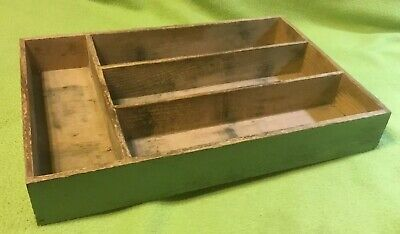 Vintage  ~ Utensil Tray Box  ~ Green ~ Dovetail Corners ~ 4 Division