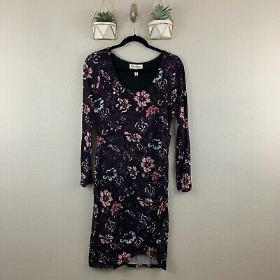 d100d0d5061 New Jessica Simpson Maternity Long Sleeve Floral Ruched Dress Black Purple  Small