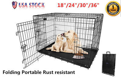 "Large Dog Crate Kennel 36""/30""/24""/18"" Folding Cat Pet Cage Metal US SHIP"