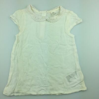Girls size 2, H&M, gorgeous lightweight top, lace collar, GUC