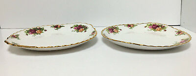 Lot Of 2 Royal Albert Old Country Roses 10.5 Handled Cake Canape Plates England