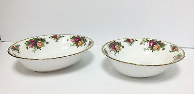 "(2) Royal Albert 1962 Old Country Roses Oval Serving Bowls 9"" ~Vegetable"