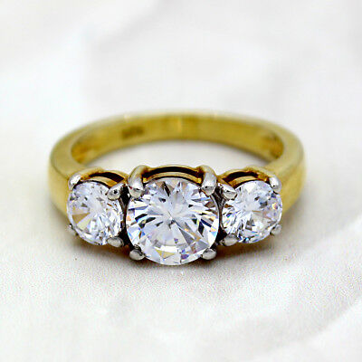 3.5CT Three Stone Round Diamond Engagement Ring Sterling Silver 22kt Gold Plated
