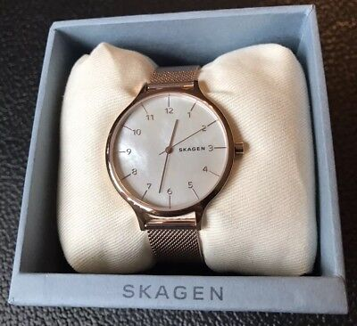 7ef9c7bdc934 Skagen Ladies SKW2633 Ancher Rose-Gold Tone Mesh Strap Watch Mother of  Pearl NWT