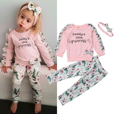 UK Toddler Baby Girls Winter Clothes Floral Ruffle Tops Pants 3Pcs Outfits Set
