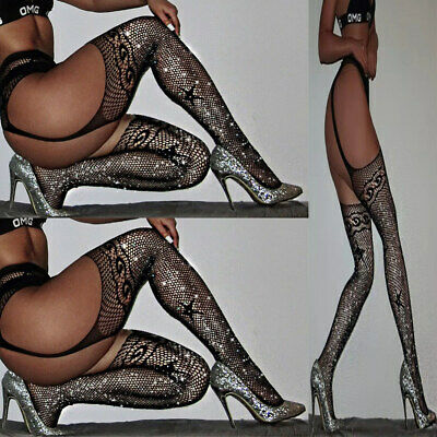 Crotchless Suspender Tights Bling Diamond Lace Fishnet Open Crotch Stocking Sexy