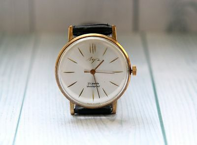 LUCH gold plated Au20 USSR vintage men's ULTRA THIN mechanical wristwatch