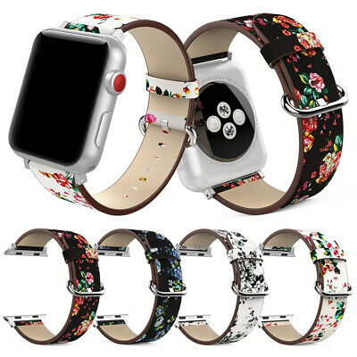40/44mm Floral Flower Leather Strap Band Bracelet For iWatch Apple Watch 4 3 2 1