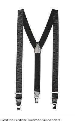 New Auth Hugo Boss Limited Edition Bratino Leather Trimmed Suspenders Black