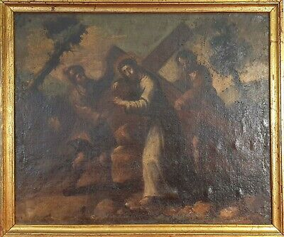 Christ Loading The Cross. Oil On Canvas. Unsigned 18Th-19Th Century.