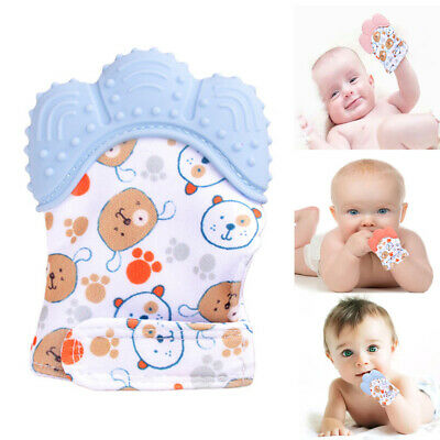 Baby Molar Glove Silicone Teething Mitten Hand Wrapper Sound Toy Teether 1Pcs