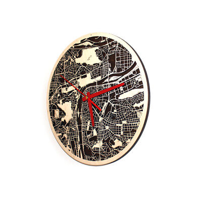 """Praha City Wood Map Round Wall Clock 3D For Home Office Decor Art 12.6"""""""