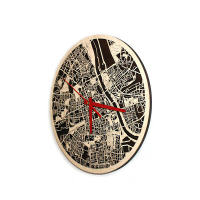 """Warsaw City Wood Map Round Wall Clock 3D For Home Office Decor Art 12.6"""""""