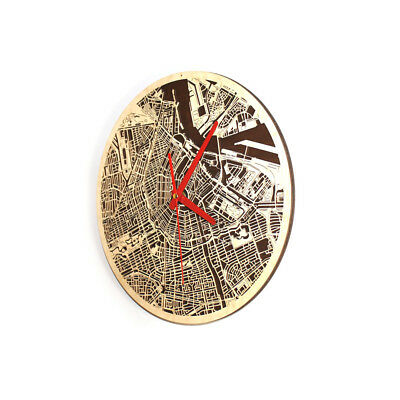 """City Wood Map Amsterdam Round Wall Clock 3D For Home Office Decor Art 12.6"""""""