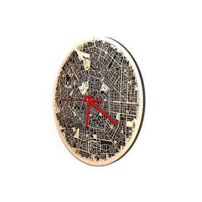 """Milan City Wood Map Round Wall Clock 3D For Home Office Decor Art 12.6"""""""