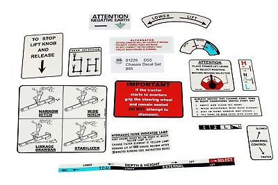 """Pre /""""Q/"""" Cab Tractors 885 David Brown Chassis Decal Sets 41226"""