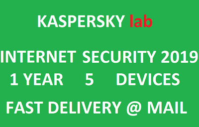 Kaspersky Internet Security 2019 5 Devices/1Year|US CA key|Delivery via message