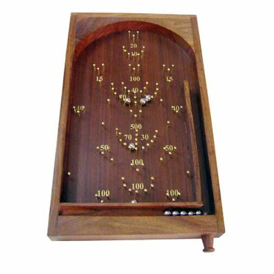 Traditional Vintage Table Top Bagatelle Game Carved Wood Brass Retro Art Deco